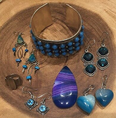 7 Pc Lot Sterling Silver 925 Jewelry Agate Topaz Turquoise Cuff Earrings Ring