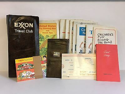 Vintage Exxon Travel Club vinyl folder holder maps metric converter kit MGT