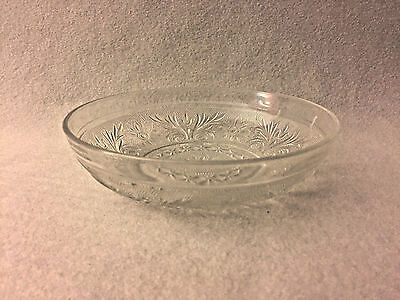 Anchor Hocking Sandwich Glass Crystal LOW CEREAL BOWL HTF Free U.S. Shipping