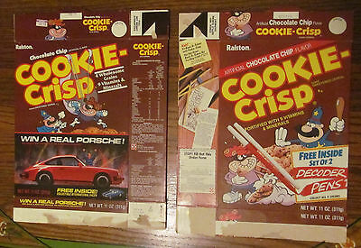2 Cookie-Crisp cereal boxes 1985, 1980s 80s 11oz. Brown box Porsche decoder pens