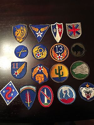 HUGE Lot Military PATCHES Pins Buttons Wings - US WW2 WWII - 50+ Patches