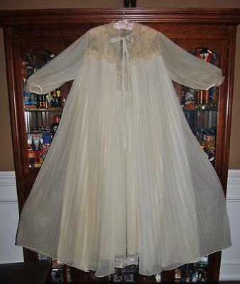 VTG 1930s Odette Barsa Crystal Pleated Gown Nightgown Robe 4 Layer Wedding  Set