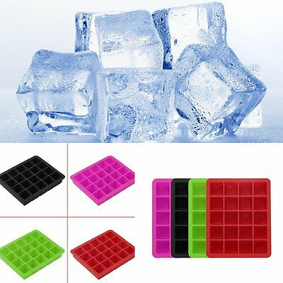 20-Cavity Large Cube Ice Pudding Jelly Maker Mold Mould Tray Silicone Tool UK