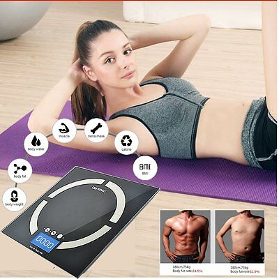 Digital Bathroom Weight Scales Body Fat Bone BMI Water Glass LCD Electronic