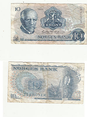 NORGES BANK 10 KRONER BANKNOTE,PICK#36,1975,SERIAL#ac4372481