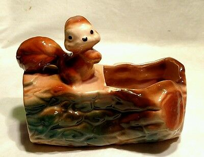 VINTAGE 1950'S MID-CENTURY McCOY ART  POTTERY RED SQUIRREL ON A LOG PLANTER POT