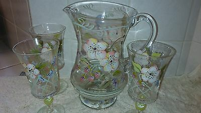 Tracy Porter Clear Glass Hand Painted Floral Pitcher & 3 Glasses