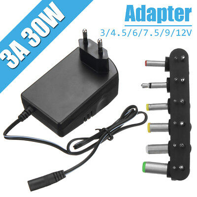 Universal AC DC 3/4.5/6/7.5/9/12V Adapter Converter Power Charger 2.5A 30W Plug
