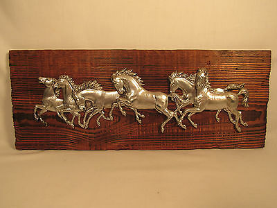 Vintage Equestrian Galloping Horses Wall Plaque