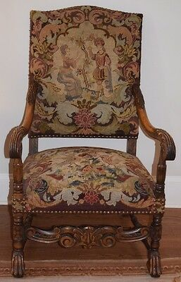 Antique Renaissance HEAVILY CARVED OAK FIRESIDE ARM CHAIR Needlepoint