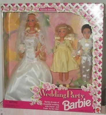 RARE BARBIE WEDDING PARTY DELUX SET with STACIE & TODD ~ SPECIAL EDITION