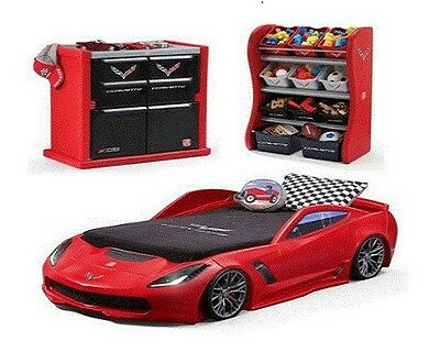 Corvette Kids Bedroom 3 Piece Combo Durable Toddler to Twin Bed Organizer RED