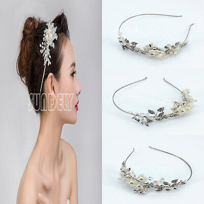 Perfect Vintage Alloy Pearl Crystal Flower Tiara Hair Band Clip Headband Wedding