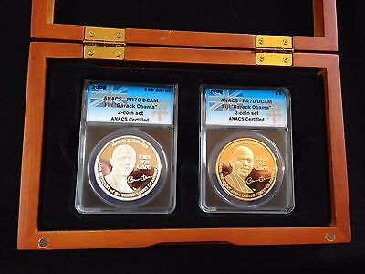 2009 Barack Obama PR70 DCAM $10 Silver and $1 Gold Clad, 2 Coin Set in Wood Box