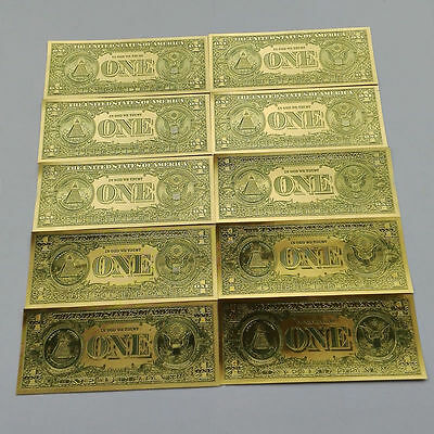 10pcs USD 1 dollar Gold Foil Shining Golden Paper Money Banknotes Crafts UNC New