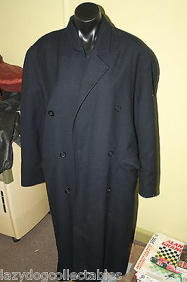 Traditional  Vintage Men's Long Trench Coat ? Wool Size Medium Black