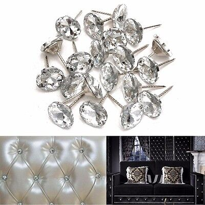 40/100X Crystal Nails Tacks Studs 20mm Dia Buttons Sofa Wall Upholstery Decor
