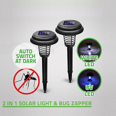 Solar Powered LED Insect Killer Light Pest Bug Mosquito Zapper Lamp Garden Lawn
