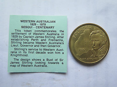 1979 AUSTRALIAN TOKEN 150th ANNIV of WESTERN AUSTRALIAN SETTLEMENT STIRLING Pict