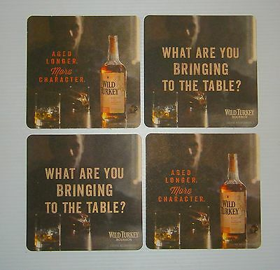 Wild Turkey Bourbon brand new set of 4 cardboard drink coaster mats