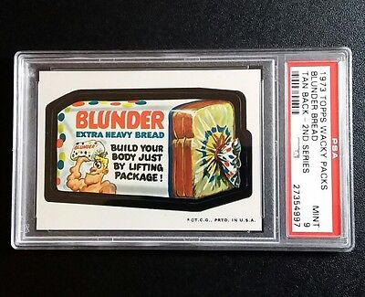1973 Topps Wacky Packages Blunder Bread PSA Graded MT 9 Tan Back 2nd Series Card