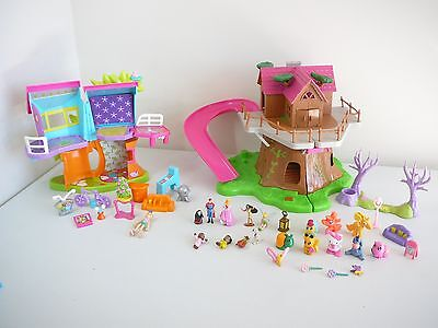 polly pocket dolls magnetic house + other miniature dolls house + dolls pets