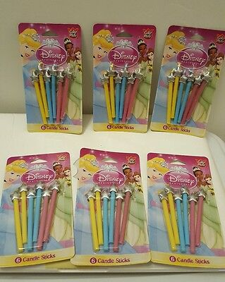 NEW CAKE MATE DISNEY PRINCESS MAGIC WAND BIRTHDAY CANDLES 6 pkgs (6 in a set)