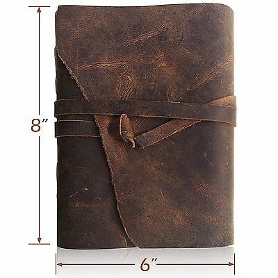 LEATHER JOURNAL Writing Notebook - Antique Handmade Leather-Bound A5 Daily Note