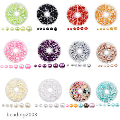1Box Imitation Pearl ABS Acrylic Dome Half Round Cabochons Choice of Colours