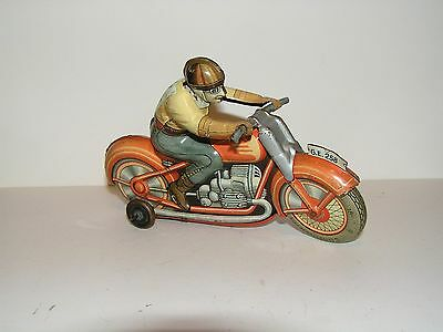 Vintage Clockwork  Technofix Tin Motorcycle . Made In U.s. Zone Germany.
