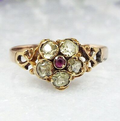 Antique Georgian 9ct Gold Sweet Chrysoberyl and Ruby Daisy Cluster Ring / Size P