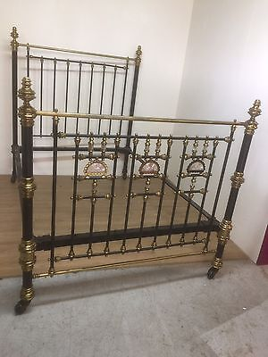 Victorian Brass And Iron Bed With Mother Of Pearl Panels
