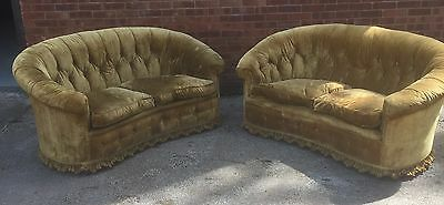 Pair Of Edwardian Country House Sofas With Feather Seat Cushions