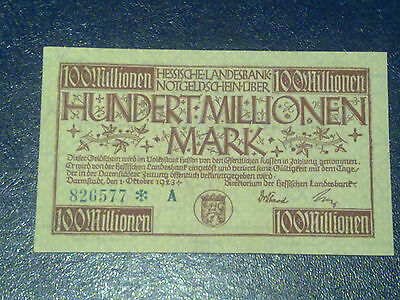 Germany - 100 Million Mark  Banknote 1923- Darmstadt-Inflation - Aunc