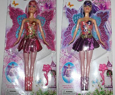 Set of 2 x Girls FAIRY DOLL pretty angel action figure toy NEW 30cm Pink-Purple