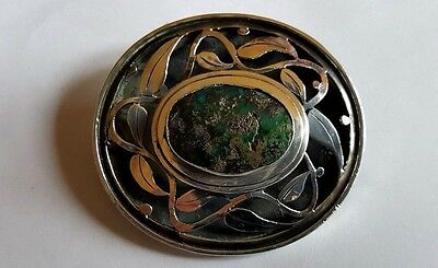 Period White Metal Silver arts and Crafs Brooch Cabochon and Pierced Front