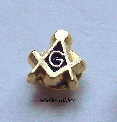 ( 1x ) TINY Masonic 5mm Pin Badge / Gold Plated Square & Compass G, Lapel Gift