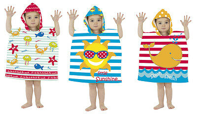 Childrens Quik Dry Mini Hooded Poncho for Baby,Toddler,Kids,Towel 18Mth-3Yrs