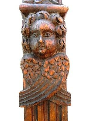 Beautiful old carved lady with angel (furniture ornament ?)