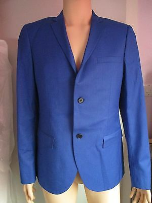 """NEW Mens Topman Lined Tailored Suit Jacket Blazer ELECTRIC BLUE 42"""" - 44"""" Chest"""