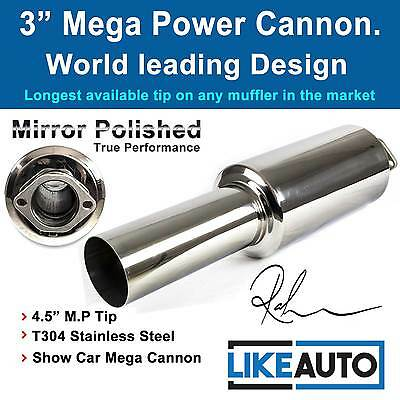 """3"""" Cannon Muffler polished T304 Stainless Steel JDM Styling 4.5inch Tip *SPECIAL"""