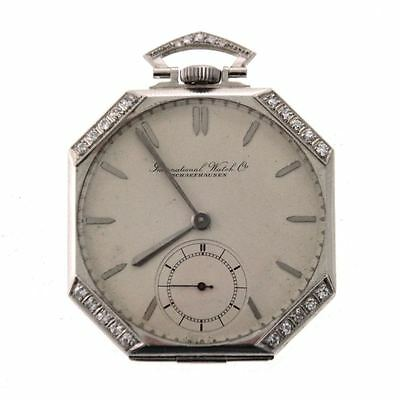 IWC Shaffhausen Rare Antique Swiss Pocket Watch Custom Made Platinum Diamonds