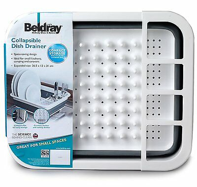 Beldray Collapsible Dish Drainer Washing Plates Cutlery Draining Board Rack