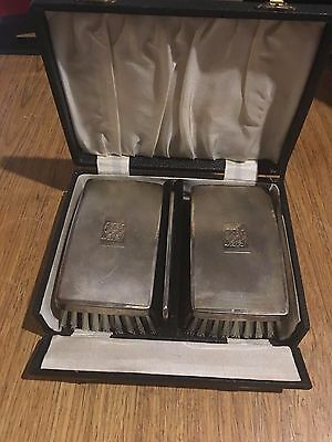 Antique Sterling Silver Packed Pair of Brushes  In Case