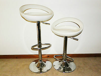 Lot 2 CONTEMPORARY White SWIVEL & HIGHT ADJUSTABLE Bar / Kitchen Counter Stools