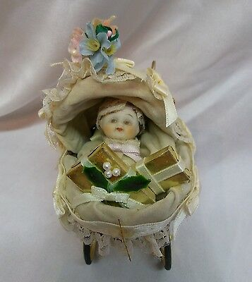 1985 Kurt S. Ader Porcelain Baby In A Carriage Ornament/ Figurine