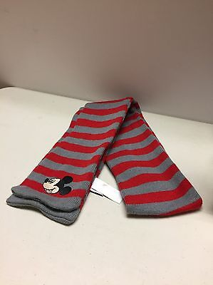 Disney Mickey Mouse Striped Red & Grey Scarf Kids One Size - Fits 5-8 Year