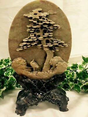 Lovely Chinese Carved Tree & Bird Pierced Soapstone Oval Plaque With Stand