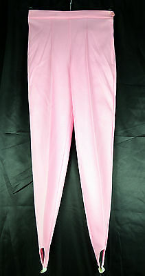 Vintage 1960's Baby Pink High Waisted Stirrup Skinny Slacks Trousers Size 8