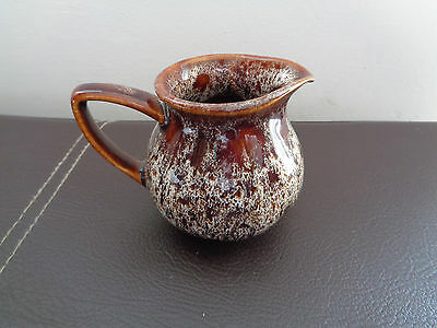Fosters Pottery Cornwall cornish Brown honeycomb milk cream jug 3 inches tall